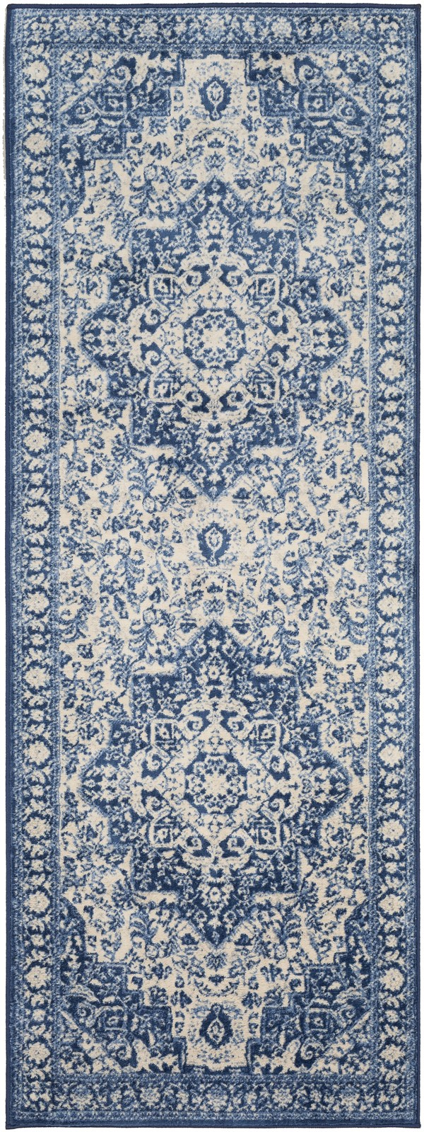 Blue, Navy, Cream Traditional / Oriental Area Rug