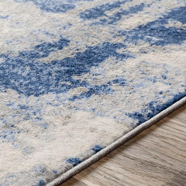 Blue, Grey, Cream Abstract Area Rug