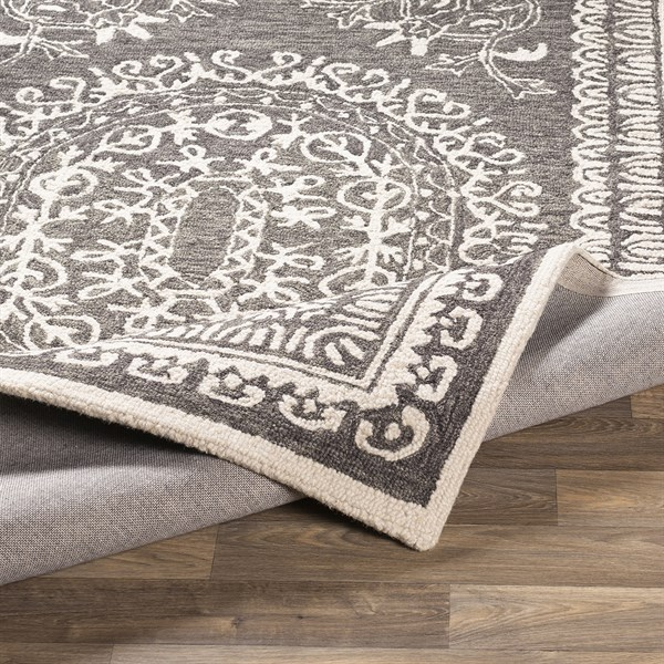 Charcoal, Cream (WLY-2305) Bordered Area Rug