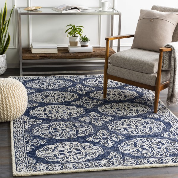 Navy, Ivory (GND-2308) Transitional Area Rug