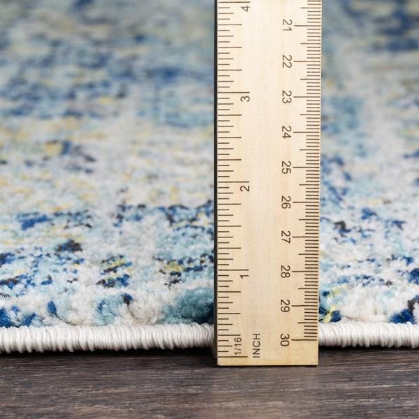 Blue, Ivory, Yellow Vintage / Overdyed Area Rug