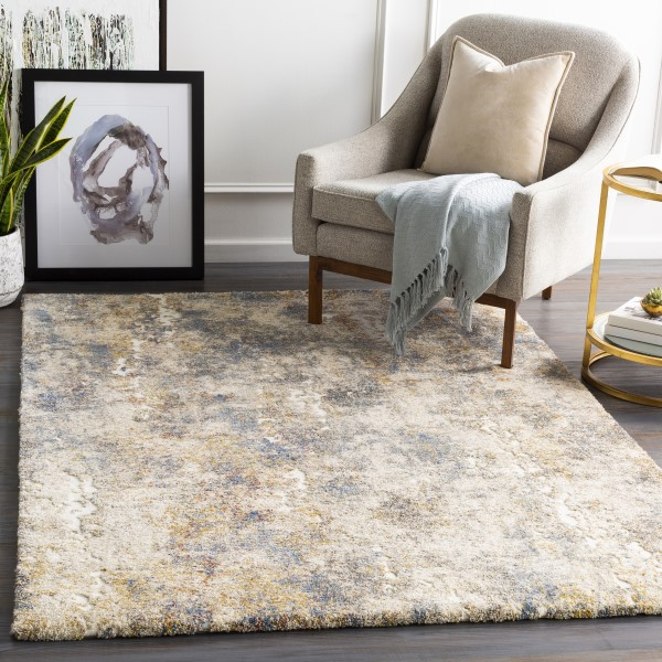 Khaki, Grey, Gold Abstract Area Rug
