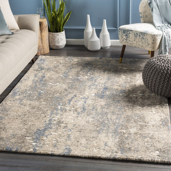 Khaki, Denim, Cream Abstract Area Rug