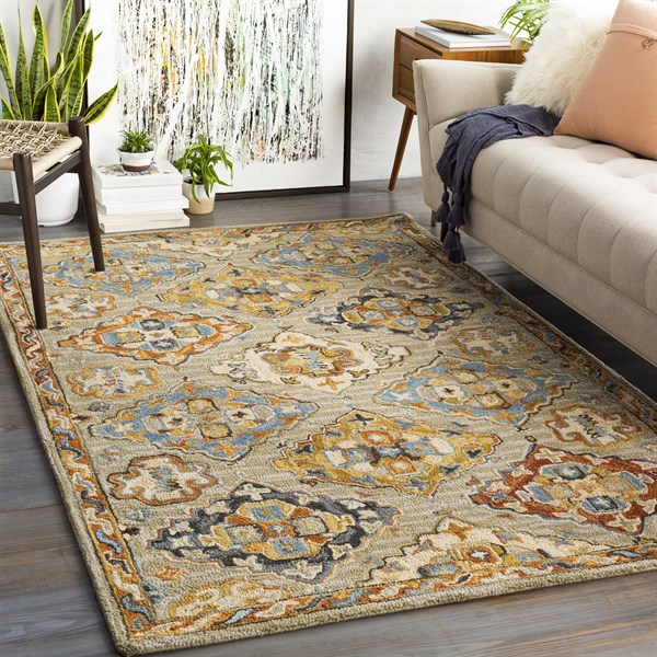 Grey, Brown, Mustard (AES-2300) Transitional Area Rug