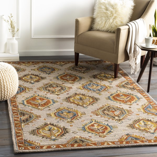Rust, Coral, Mustard (AES-2310) Traditional / Oriental Area Rug
