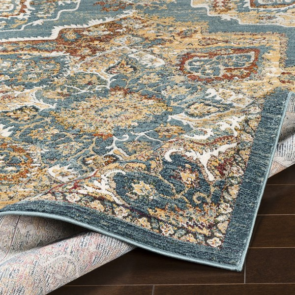 Aqua, Yellow, Rust (HER-2317) Bohemian Area Rug