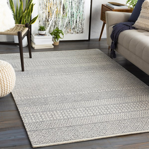 Cream, Charcoal (MAR-2301) Transitional Area Rug