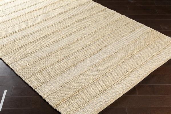 White, Cream Striped Area Rug