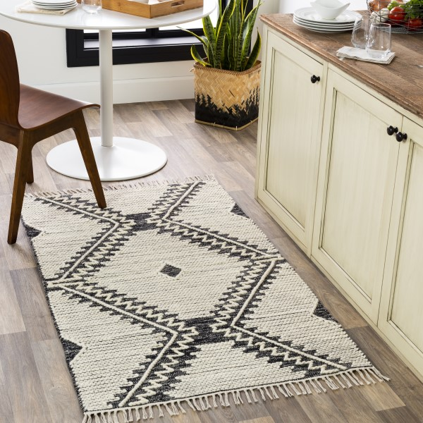 Black, Cream (BDO-2302) Bohemian Area Rug