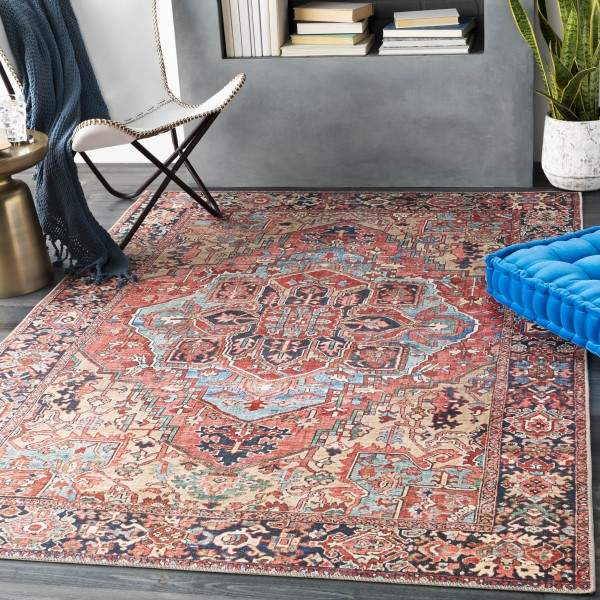 Bright Red, Navy, Wheat (IRS-2310) Contemporary / Modern Area Rug