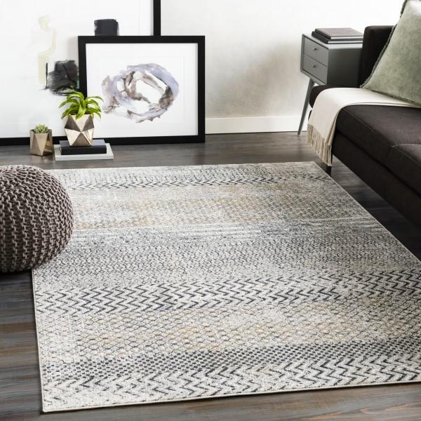 Light Grey, Charcoal (MLN-2308) Moroccan Area Rug