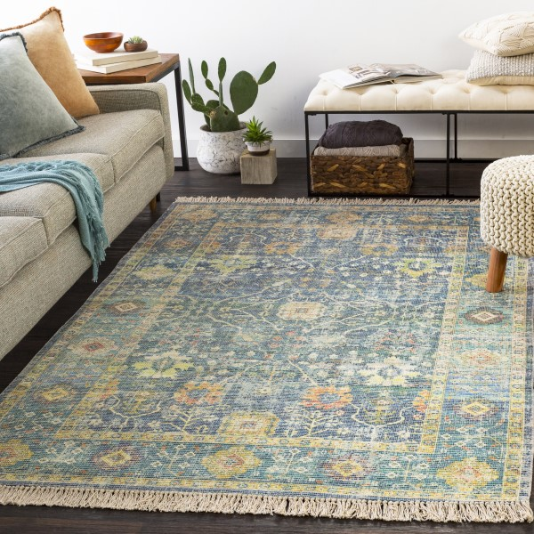 Navy, Lime, Aqua (ZAI-2309) Transitional Area Rug