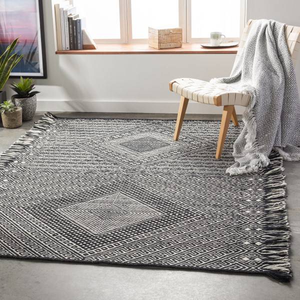 Black, Ivory (ZNF-2303) Moroccan Area Rug