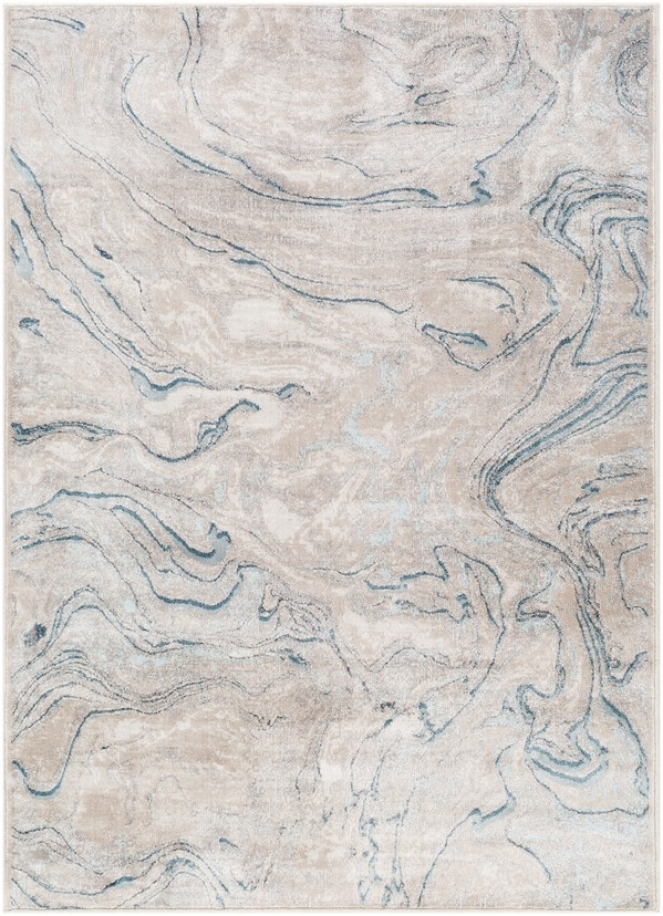 Taupe, Blue (MIE-1004) Contemporary / Modern Area Rug
