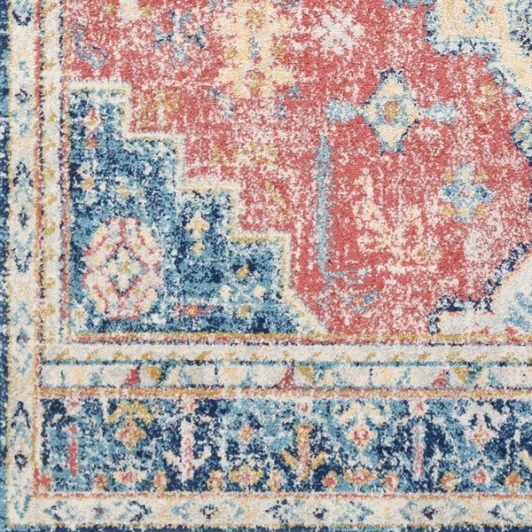 Red, Blue, Yellow (MUT-2300) Bordered Area Rug