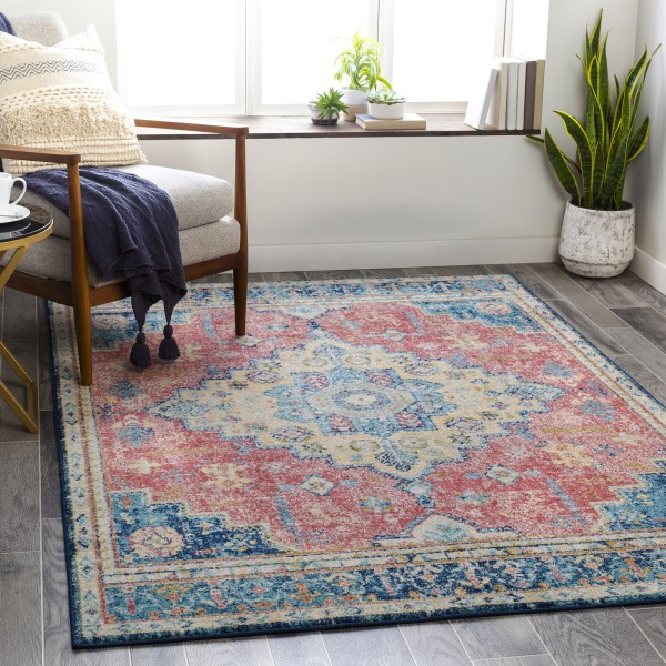 Red, Blue, Yellow (MUT-2300) Vintage / Overdyed Area Rug
