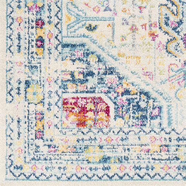 Ivory, Blue, Yellow (NWC-2320) Vintage / Overdyed Area Rug