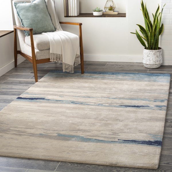 Taupe, Ivory, Grey, Blue (KVT-2306) Contemporary / Modern Area Rug