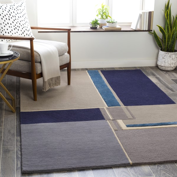 Navy, Bright Blue, Charcoal (MCY-2302) Contemporary / Modern Area Rug