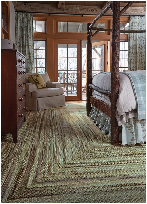 Green, Olive Country Area Rug