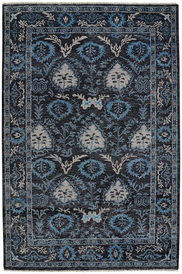 Pale Black Traditional / Oriental Area Rug