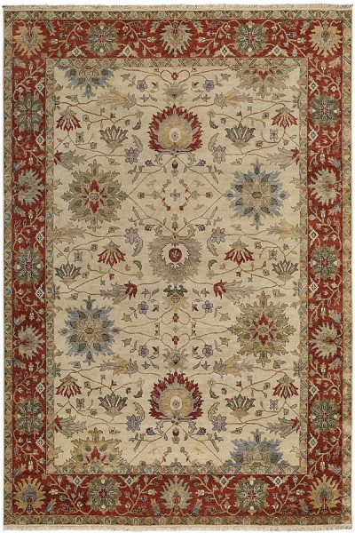 Cream, Red Traditional / Oriental Area Rug