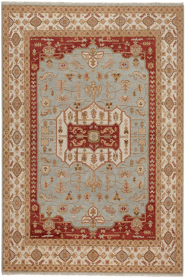Blue, Cream Traditional / Oriental Area Rug