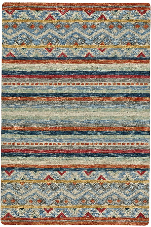 Blue, Red (2569-985) Transitional Area Rug