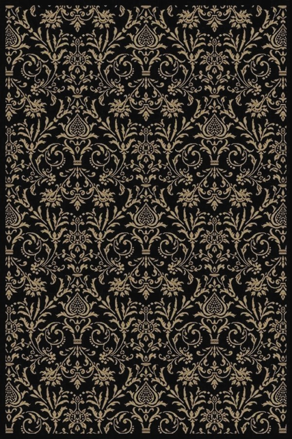 Black (4943) Damask Area Rug