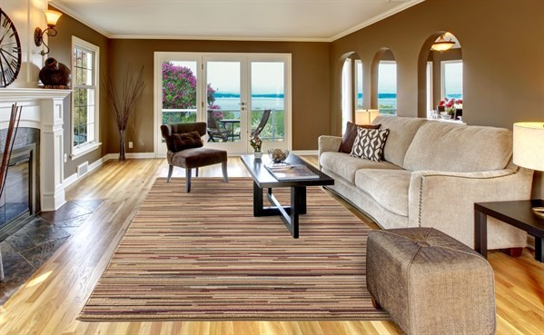 Beige, Brown (4961) Striped Area Rug