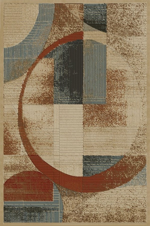 Red, Ivory, Blue (6081) Contemporary / Modern Area Rug