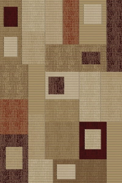 Brown, Ivory, Beige (6101) Contemporary / Modern Area Rug