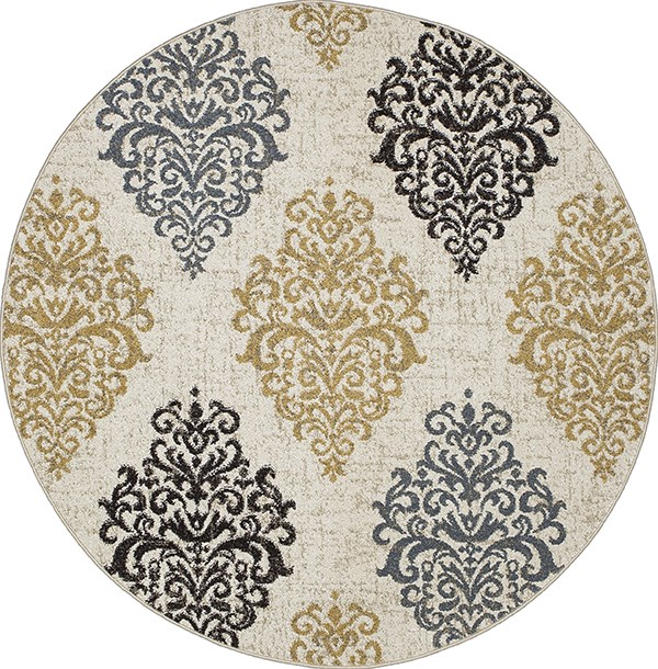Ivory, Yellow (8851) Damask Area Rug