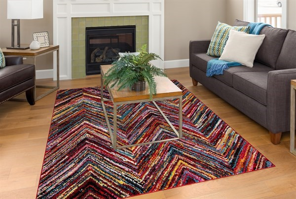 Red, Sky Blue, Yellow (7480) Contemporary / Modern Area Rug