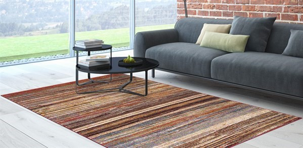 Tan, Rust (7433) Striped Area Rug