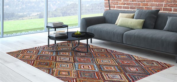 Red, Sky Blue, Yellow (7420) Contemporary / Modern Area Rug