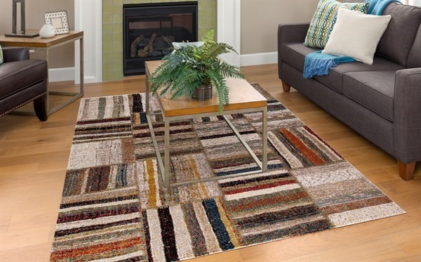 Beige, Taupe, Rust (7412) Abstract Area Rug