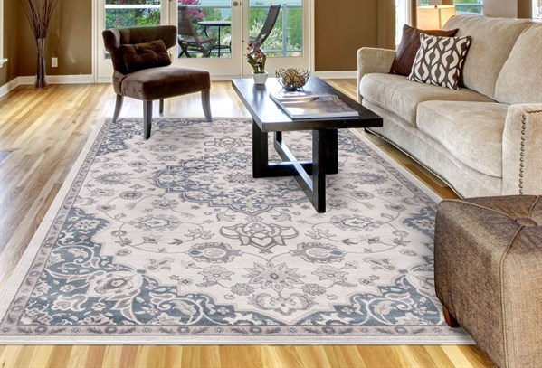 Ivory, Blue (4554) Traditional / Oriental Area Rug