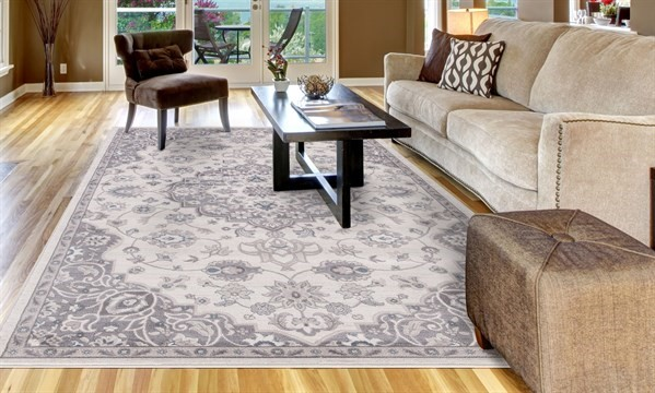Ivory, Grey (4552) Traditional / Oriental Area Rug