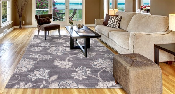 Grey (4516) Floral / Botanical Area Rug