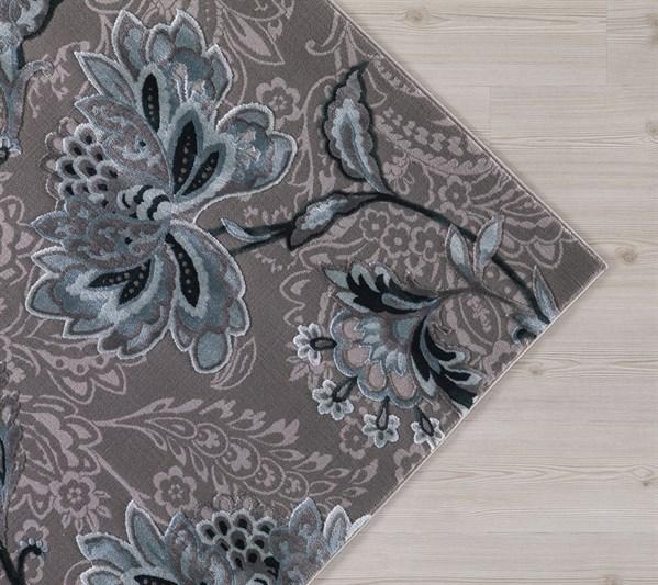 Grey, Teal (2955) Floral / Botanical Area Rug