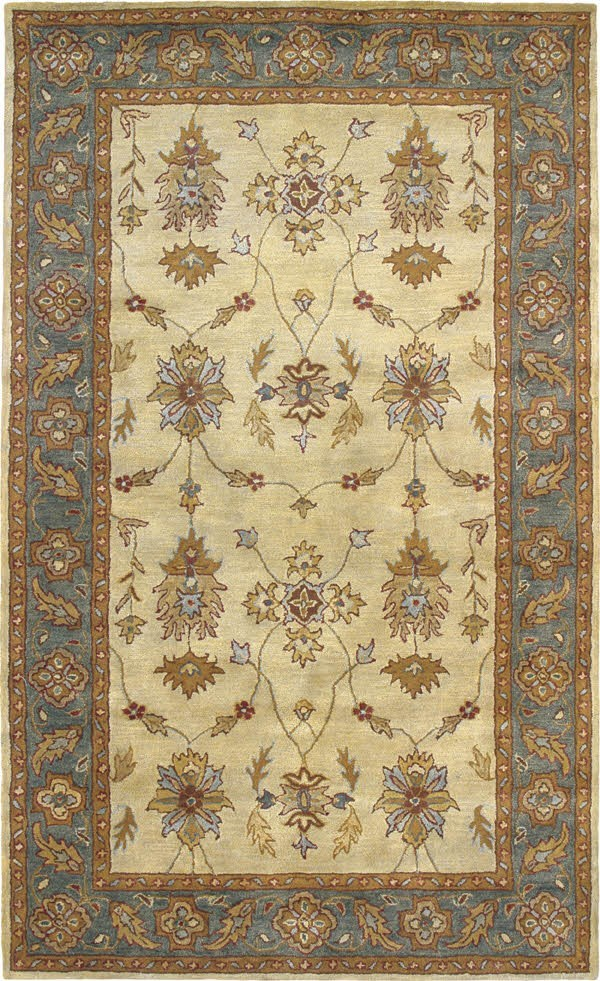 Ivory, Blue (100) Traditional / Oriental Area Rug