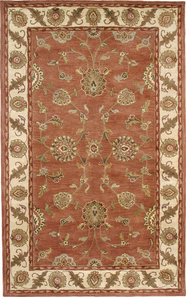 Rust, Ivory (200) Traditional / Oriental Area Rug