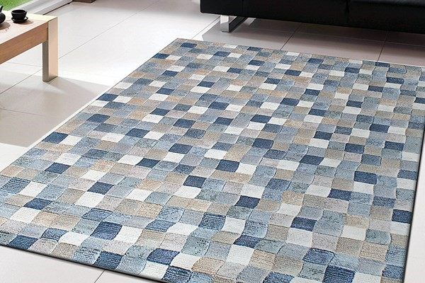 Blue, Ivory (6121) Transitional Area Rug