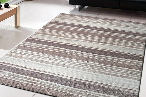 Brown, Silver (4343) Striped Area Rug
