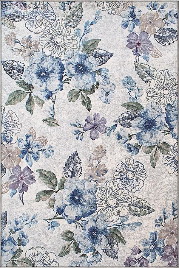 Cream, Blue (6141) Floral / Botanical Area Rug