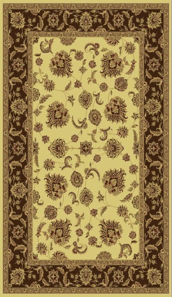 Cream, Brown (160) Traditional / Oriental Area Rug