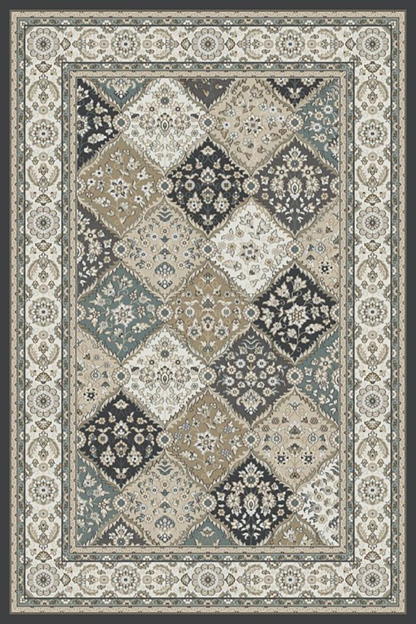 Grey, Ivory (910) Traditional / Oriental Area Rug