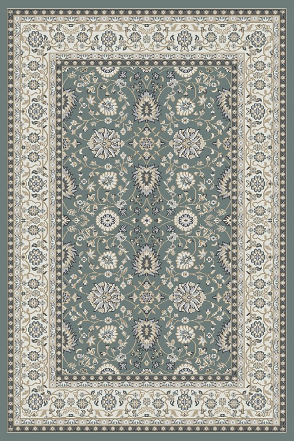 Grey, Ivory (150) Traditional / Oriental Area Rug