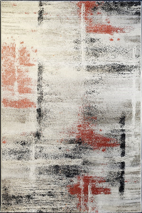 Ivory, Rust (6314) Abstract Area Rug